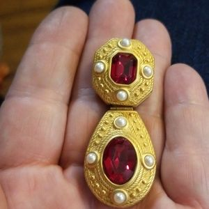 Single Joan Rivers earring -royal,ruby red,pearls